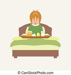 person in bed smiling at grandma's remedies tray vector