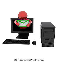 Person in computer with letter