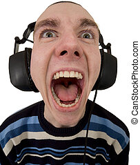 The person in ear-phones shouting at a white background