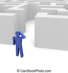 Person in front of labyrinth. 3d rendered image.