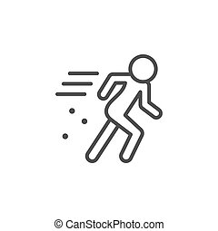 Person in motion line outline icon isolated on white. Vector illustration