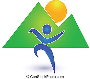 Person in motion with mountains background icon