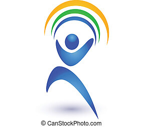 Person in motion with rainbow logo