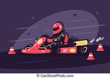 Person in protective suit on race car rides on karting....
