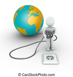 Person is about to plug in the globe