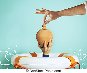 Person is drowning and wants to save her moneybox. concept of bankruptcy and insurance help. Cyan background
