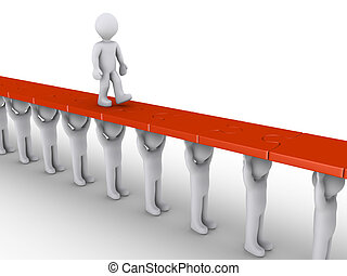 Person is supported in order to succeed - 3d person is...