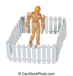 Person Isolated by a Picket Fence