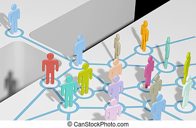 Person join social or business network - Person bridging gap...