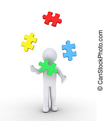 Person juggling puzzle pieces - 3d person is juggling four...