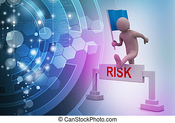 person jumping over word risk with flag