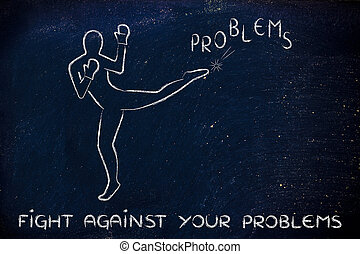 person kicking and boxing the word problems