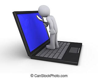 person, laptop, vergrößerungsglas