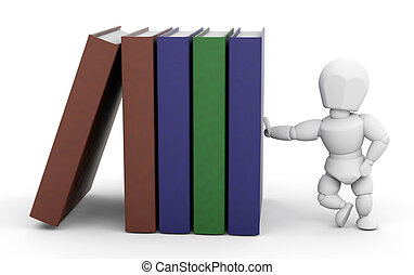 Person leaning on books