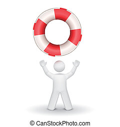 person looking up at a buoy
