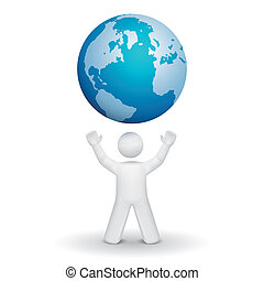 person looking up at a global