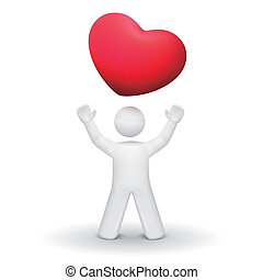 person looking up at a red heart symbol