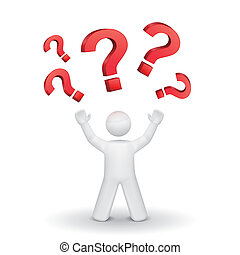person looking up at question mark isolated white background