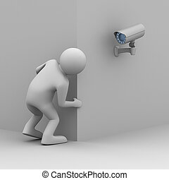 person looks out of corner. 3D image