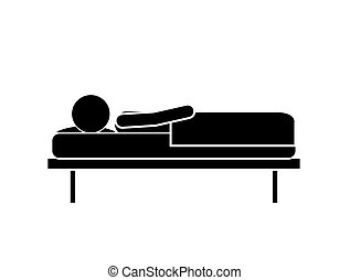person lying in bed isolated icon design