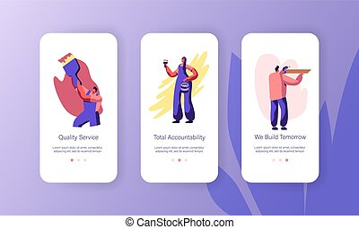 Person Making Renovation at Home Mobile App Page Onboard Screen Set. Woman Painting Wall with Brush. Man Drilling Wooden Shelf. Man Paint Website or Web Page. Flat Cartoon Vector Illustration