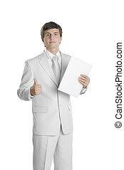 person, mapp, papper, ung, affär