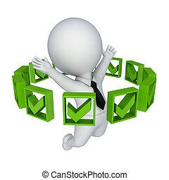person., markierungen, ungefähr, zecke, grün, 3d, klein