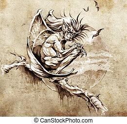 person med groteskt ansikte, tatuera, skiss, monster, ...