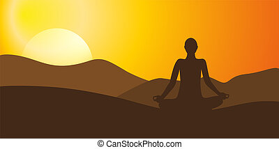person meditating on high mountain in sunset background