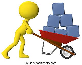 Person moving data cubes boxes wheelbarrow