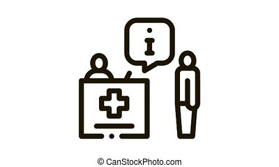 person near check-in point Icon Animation. black person near check-in point animated icon on white background