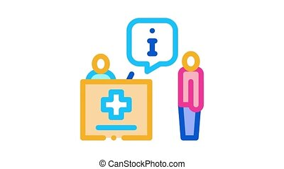 person near check-in point Icon Animation. color person near check-in point animated icon on white background
