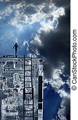 person, oben, technologie, begriff