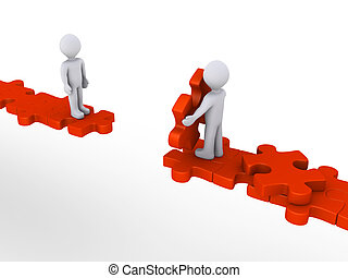 Person offering help to another on puzzle path - 3d person...