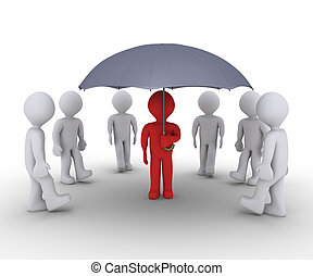 Person offering protection under umbrella - People are...