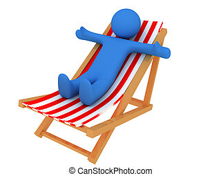 3d render of person on chaise longue. Isolated on white background.