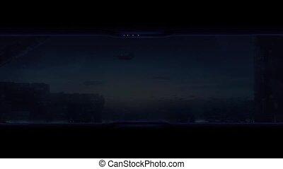 Person Opens Window In Future City