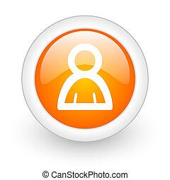 person orange glossy web icon on white background