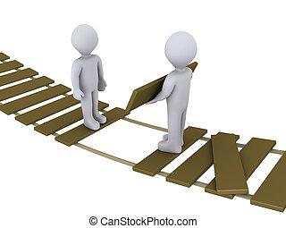 person, på, bro, hjælper, en anden