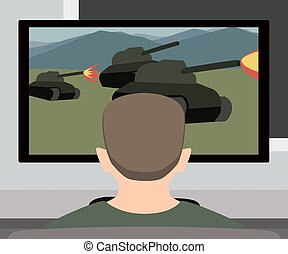 person playing video game vector cartoon