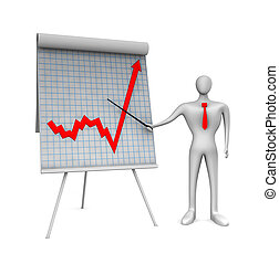 person pointing at graph on whiteboard.
