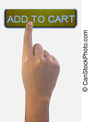 Person Pointing the Word ADD TO CART
