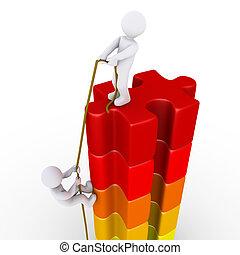 person, portion, en annan, till, nå toppen