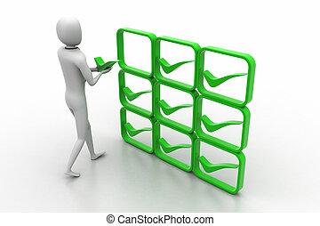 person, positiv, 3d, grün
