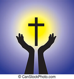 Person praying or worshiping to crucifix or Jesus - concept of a devout faithful christian worshiping holy cross(Christ) with blue background and yellow sun