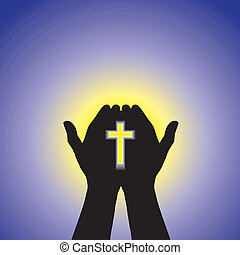 Person praying or worshiping with cross in hand - concept of a devout christian worshiping Christ with clear blue sky and sun in the background