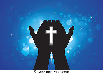 Person praying or worshiping with holy cross in hand - concept of a devout faithful christian worshiping Jesus Christ with blue background of stars and circles