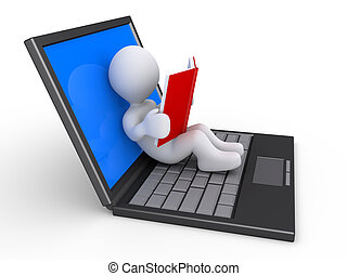 Person prefers to read a book than to use the laptop - 3d...