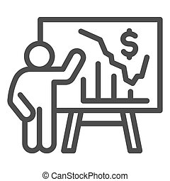 Person presents diagram on signboard line icon, presentation concept, businessman with graphs and dollar symbol on white background, Teacher pointing at board with chart icon outline style.
