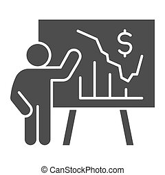 Person presents diagram on signboard solid icon, presentation concept, businessman with graphs and dollar symbol on white background, Teacher pointing at board with chart icon glyph style.